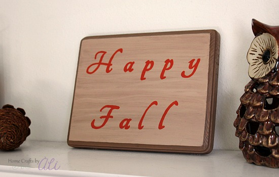Finished Fall Sign with Decor Display indoors