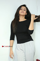 Telugu Actress Mishti Chakraborty Latest Pos in Black Top at Smile Pictures Production No 1 Movie Opening  0214.JPG