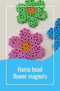 Hama bead flower magnets tutorial diy
