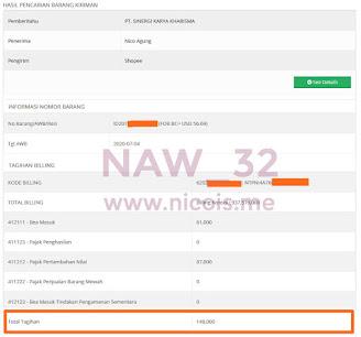 Total tagihan Pajak Pertambahan Nilai (PPN) dan Bea Masuk