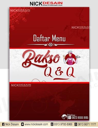 Contoh Desain List Menu / Buku Menu/ Daftar Menu Caffe Bakso Warna Maroon | Percetakan Murah Tanjungbalai