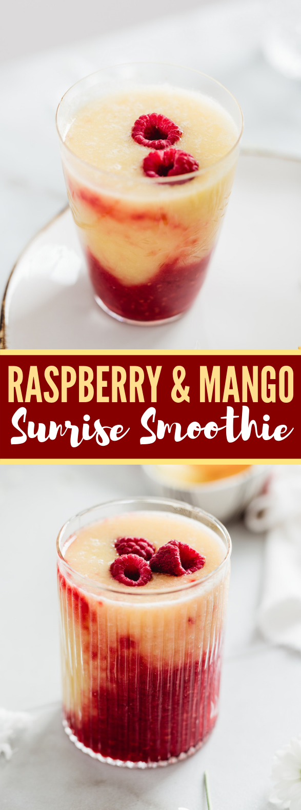 Raspberry Mango Sunrise Smoothie Recipe #drinks #summer