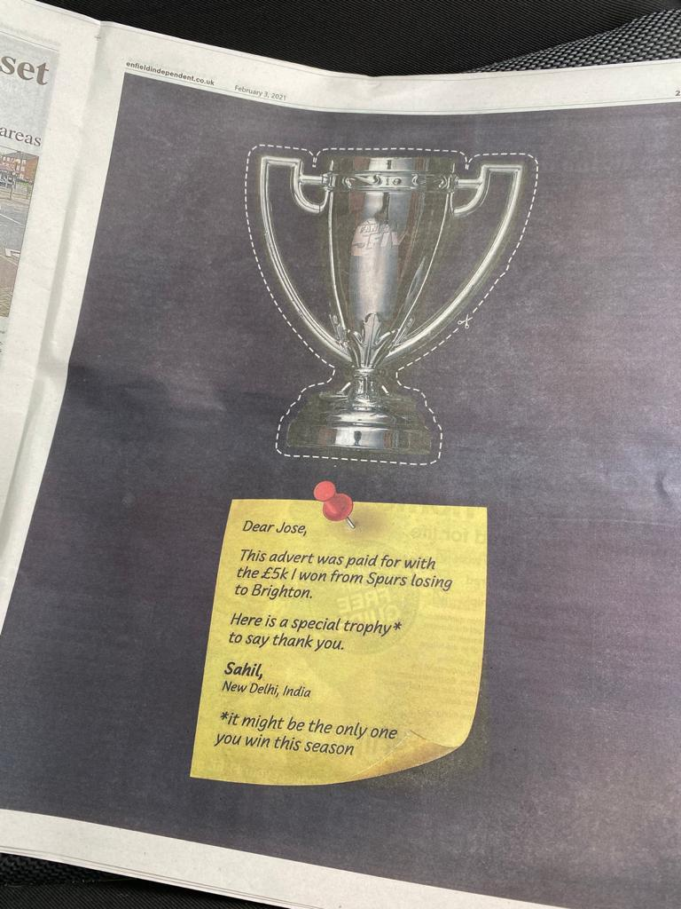 Man United fan trolls José Mourinho with full-page ad in Tottenham's local newspaper