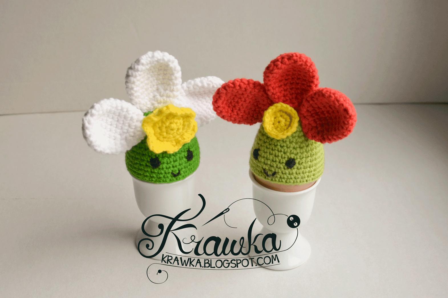 Krawka: Spring flower - Easter egg cozies - Free crochet Pattern to make it yourself