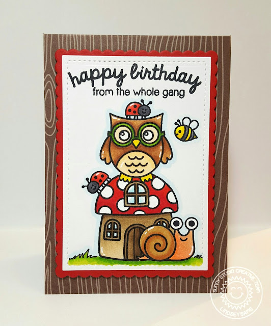 Sunny Studio: Owl & Snail Birthday Card by Lindsey Sams (using Backyard Bugs & Woo Hoo stamps)