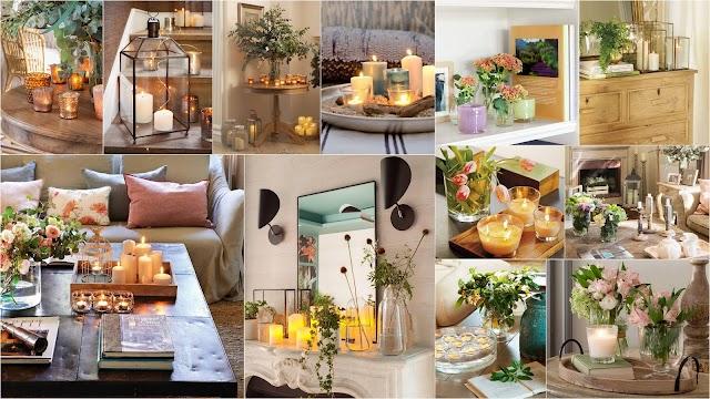40+ Πολύ όμορφες και απλές διακοσμήσεις εσωτερικών χώρων με Κεριά