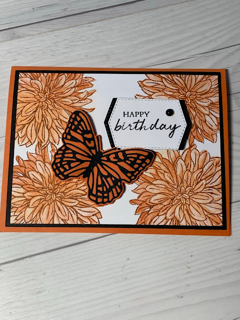 Floral butterfly Birthday Card using Delicate Dahlias Stamp Set and Brilliant Wings Dies From Stampin' Up!