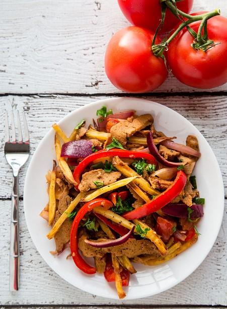Seitan Saltado (Peruvian Stir-Fry with Potatoes)