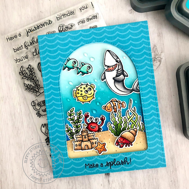 Sunny Studio Stamps: Best Fishes Sea You Soon Stitched Arch Dies Woodland Border Dies Summer Themed Card by Tammy Stark