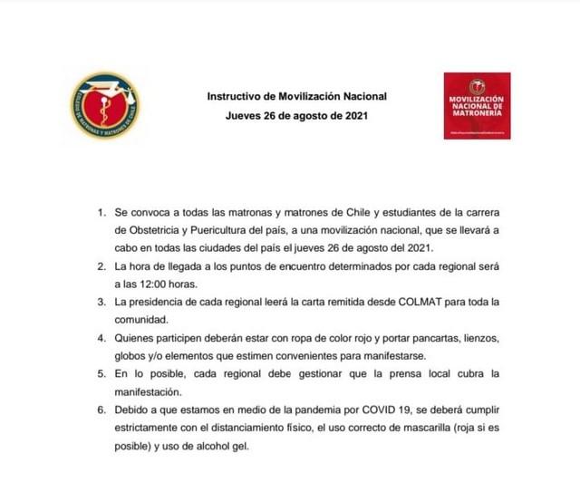 Instructivo de movilización nacional