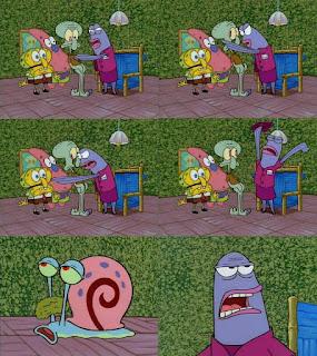 Polosan meme spongebob dan patrick 148 - hari kebalikan, spongebob, patrick, dan gary pura-pura menjadi squidward