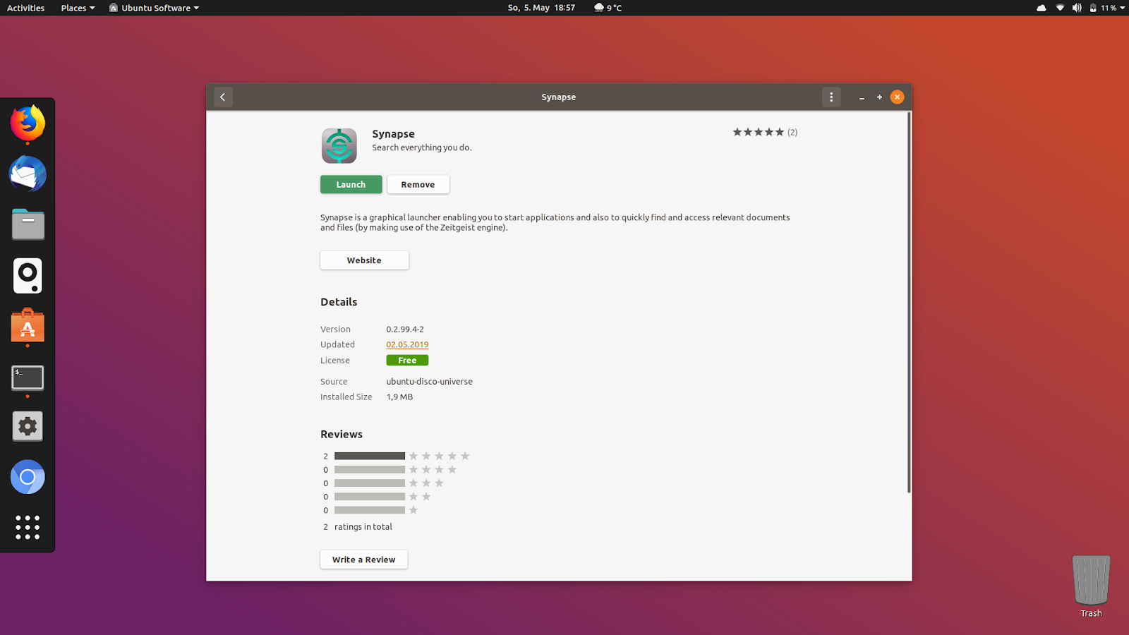 ulauncher ubuntu 19.04 disco