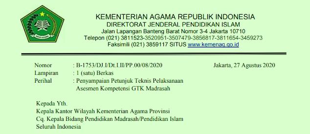 Keputusan Direktur Jenderal Pendidikan Islam JUKNIS ASESMEN KOMPETENSI GURU, KEPALA, DAN PENGAWAS MADRASAH (AKG, AKK DAN AKP MADRASAH)