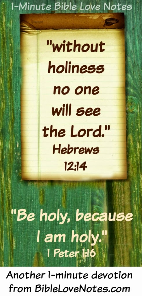 1 Peter 1:16, Be holy, God is holy, without holiness we won't see God