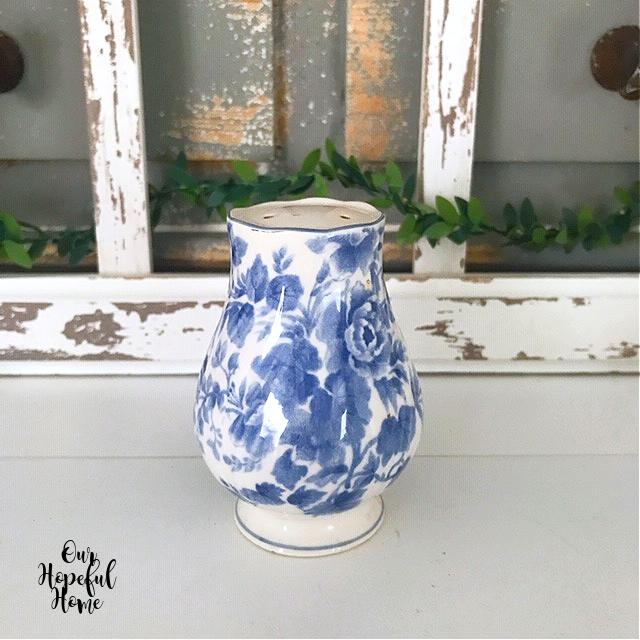 blue white porcelain salt shaker