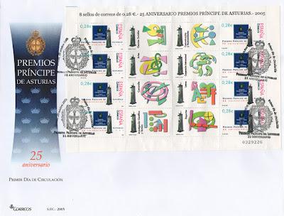 filatelia, sobres, sellos, matasellos, fundación, Príncipe de Asturias, aniversario
