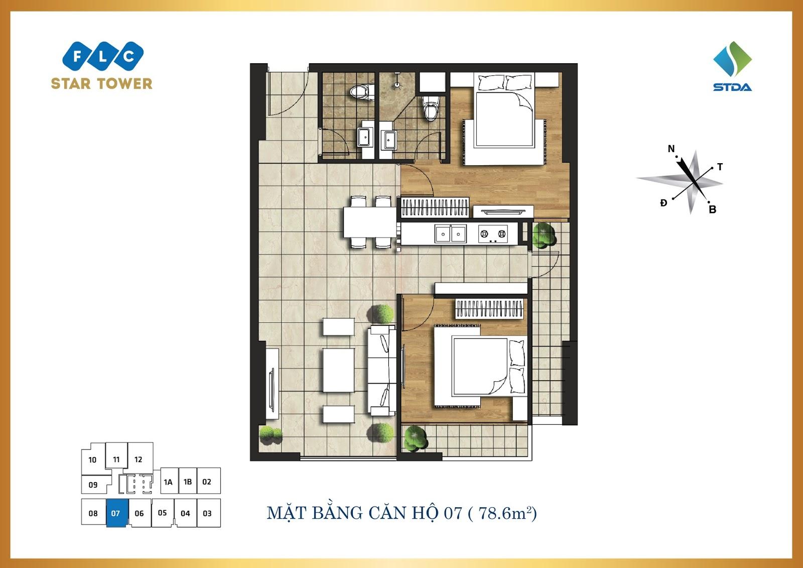 Thiết kế căn hộ số 7 - Chung cư FLC Star Tower