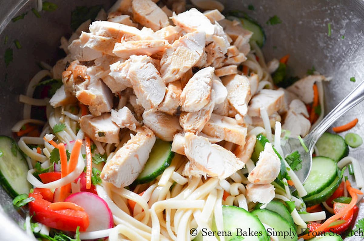 A large stainless steel bowl filled with noodles, vegetables and sliced chicken.