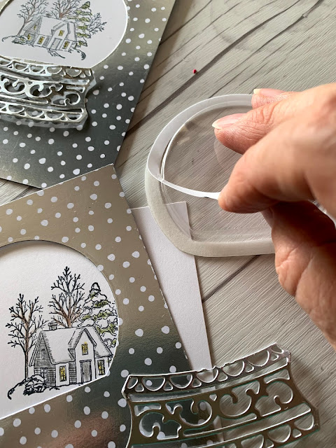 Card assembly for Still Scenes and Snow lob Shakers
