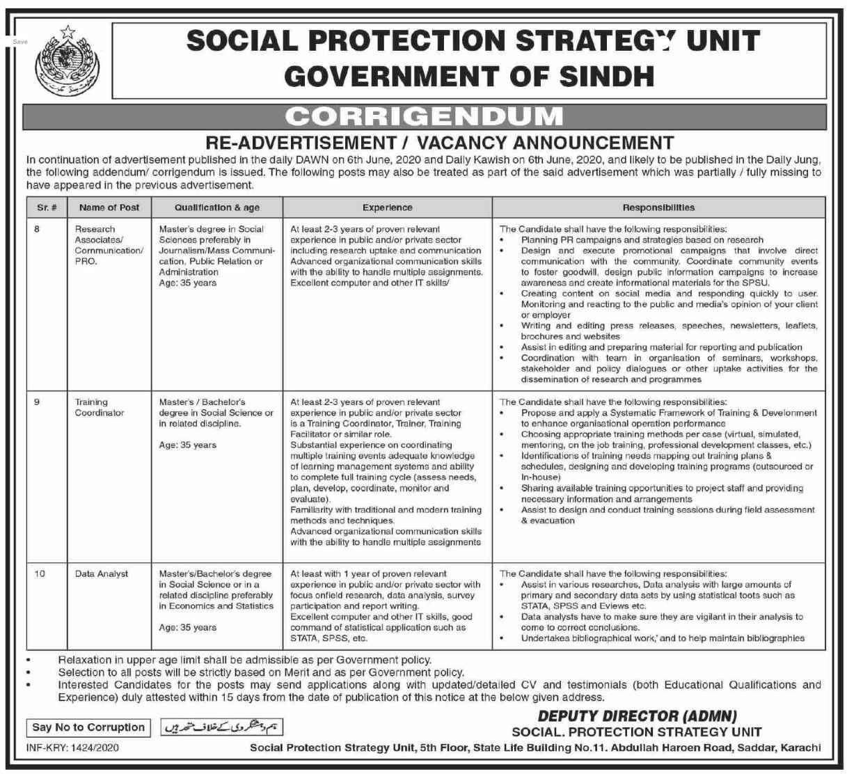 Social Protection Strategy Unit SPSU Sindh Jobs 2020