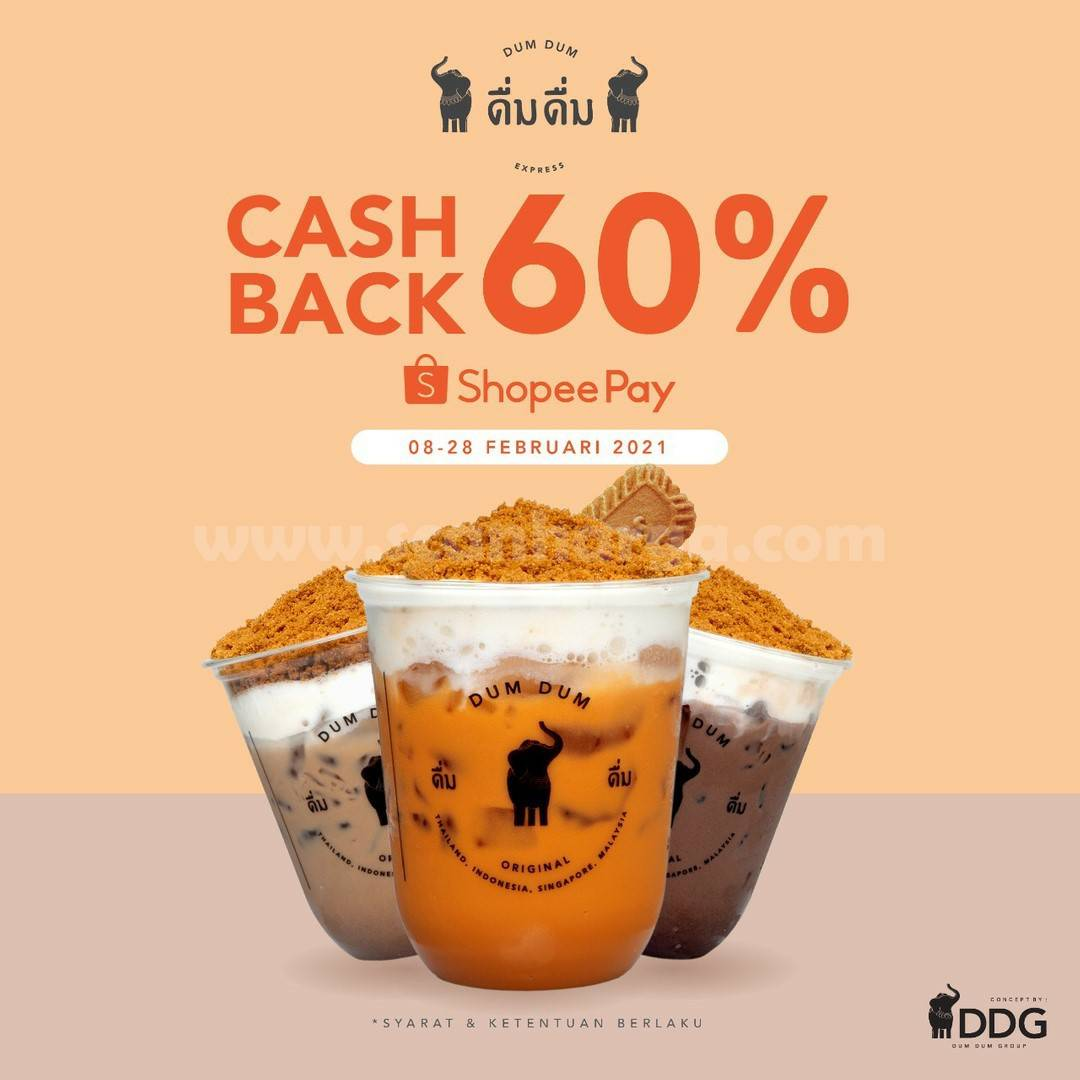 Dum Dum Thai Drinks Promo Cashback 60% dengan ShopeePay