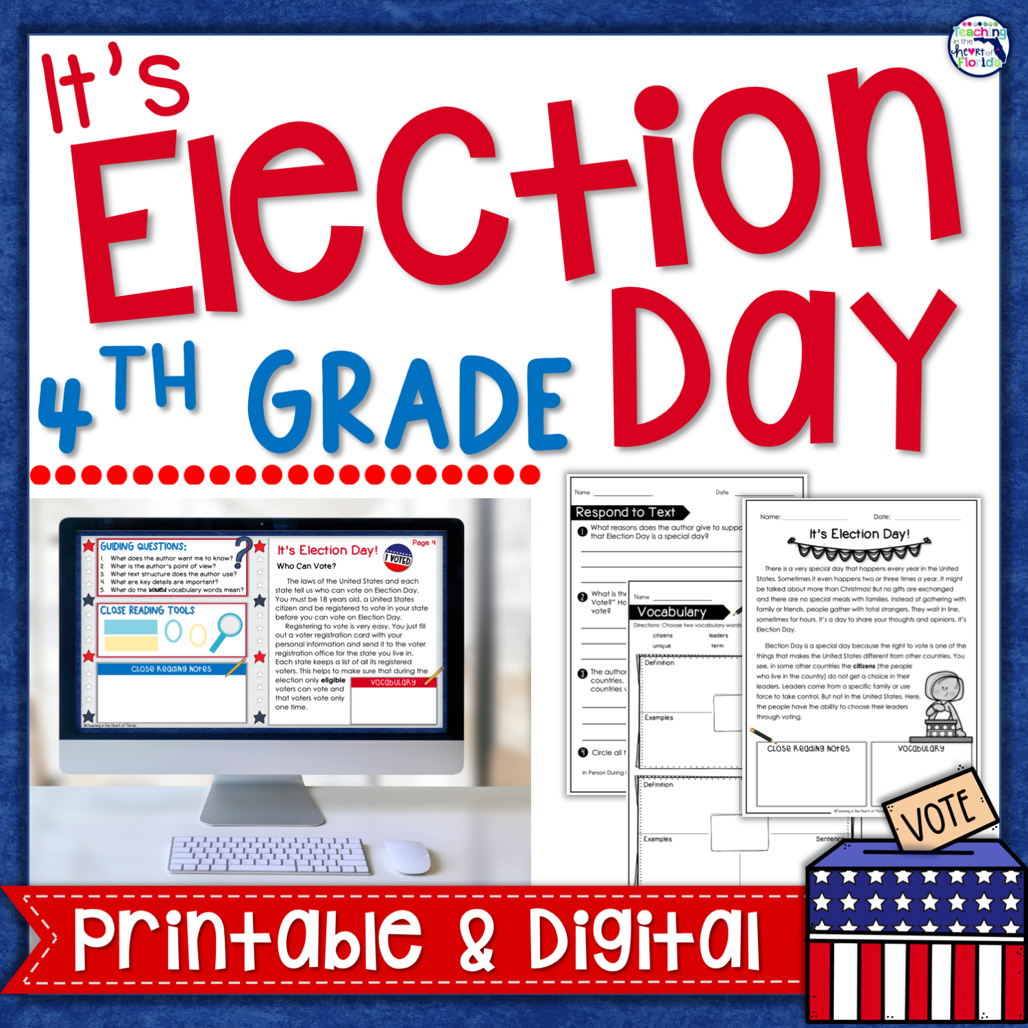 Teaching in the Heart of Florida : Election Day Activities for 3rd and 4th  Grade [ 1500 x 1500 Pixel ]