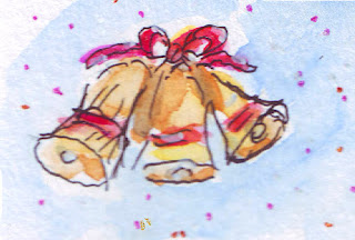 Watercolour drawing of bells in pink and gold.