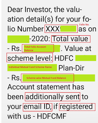HDFC Mutual Fund Account Balance on SMS