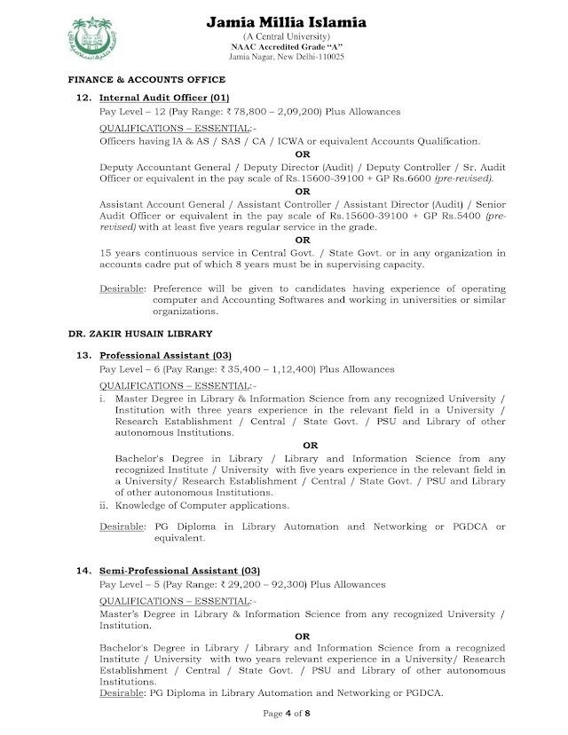 Jamia Millia Islamia University invites applications for Professional Assistant (03) and Semi Professional Assistant (03) [Last Date: 18.10.2021]
