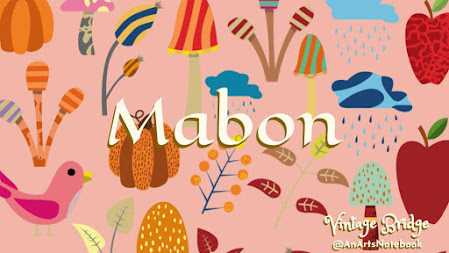 mabon themed facebook cover photo with squashes birds plants in autmun colors and the word mabon in celtic lettering in the center
