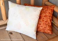 leaf rubbings pillow