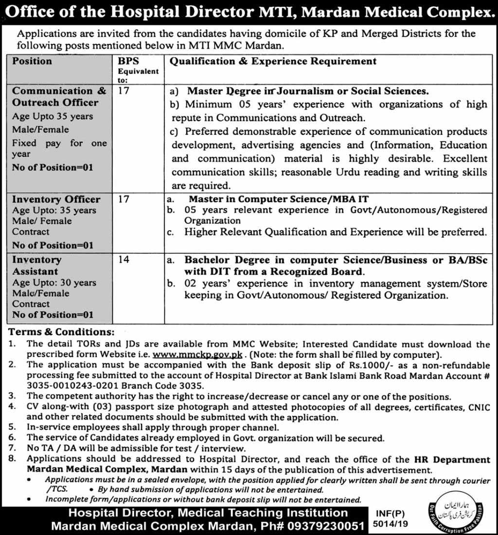 Jobs in MTI Mardan Medical Complex
