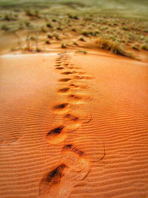 Ślady pozostawione przez osobę przechodzącą po piasku