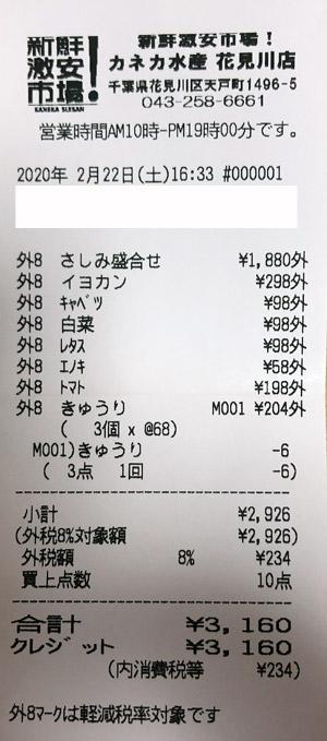 カネカ水産 花見川店 2020/2/22 新鮮激安市場のレシート