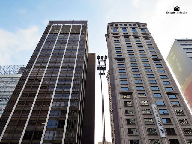 Vista ampla das fachadas do Edifício Ansarah e Hotel Meliá Paulista - Cerqueira César - São Paulo