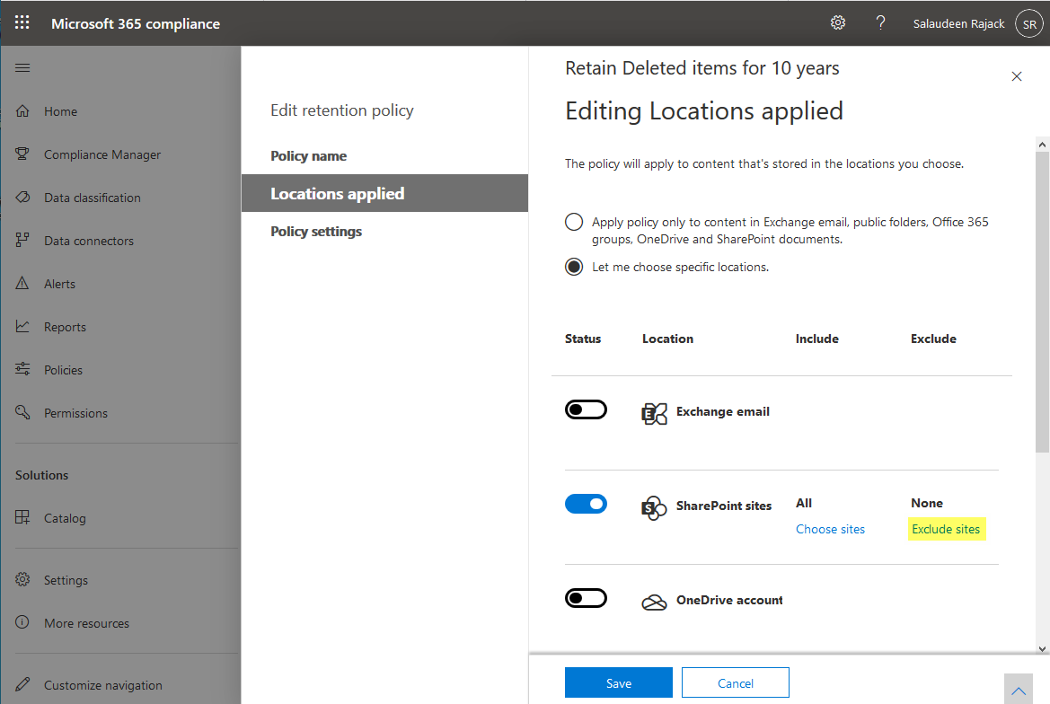 exclude sharepoint online site from retention policy
