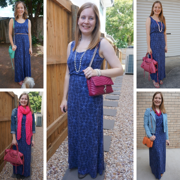 5 ways to wear pink accessories with a navy printed maxi dress awayfromblue