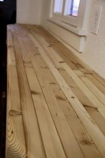 Pine butcher block counter, sanded