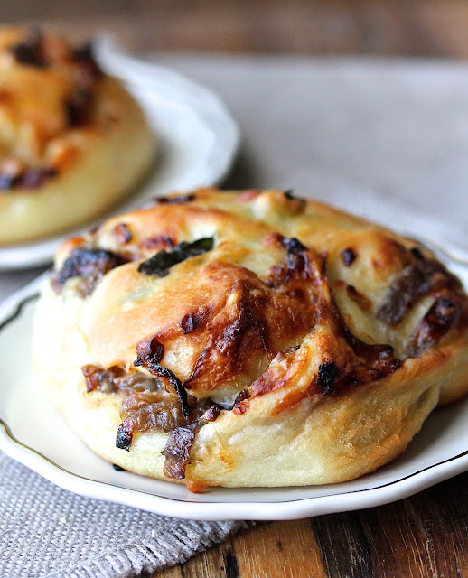 Gruyere, Caramelized Onions, and Watercress Buns