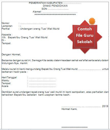Contoh File Surat Undangan Rapat Untuk Orang Tua Siswa