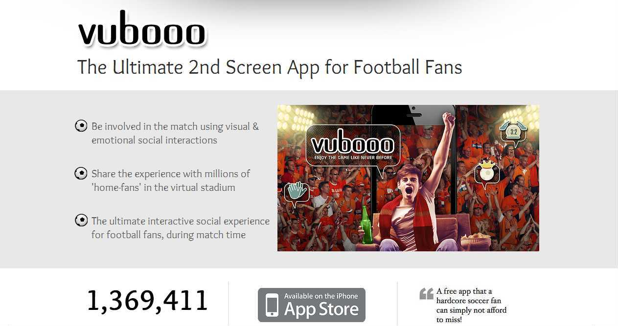 Vubooo: Enjoy a live soccer / football match on your cell phone or