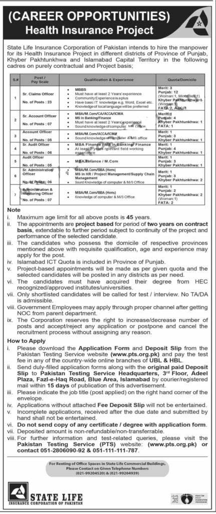 State Life Insurance Corporation Of Pakistan Job Advertisement in Pakistan - Apply Online - www.pts.org.pk