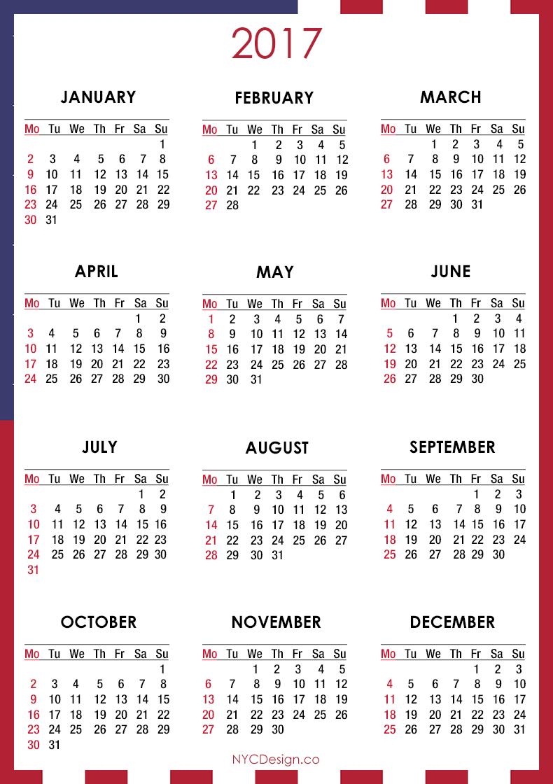 2017 Calendar - Printable