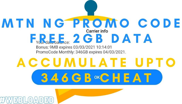MTN NG Promo Code Free 2GB Data