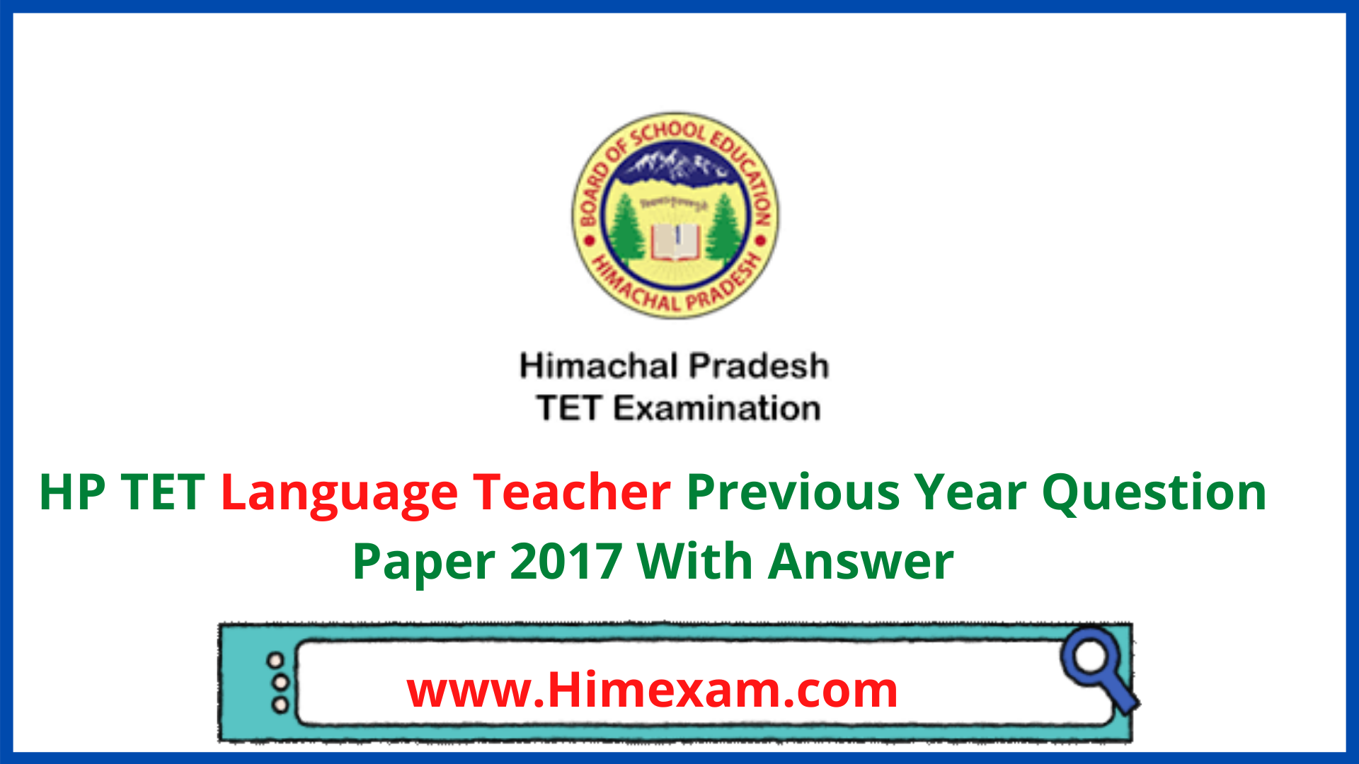HP TET Language Teacher Previous Year Question Paper 2017 With Answer