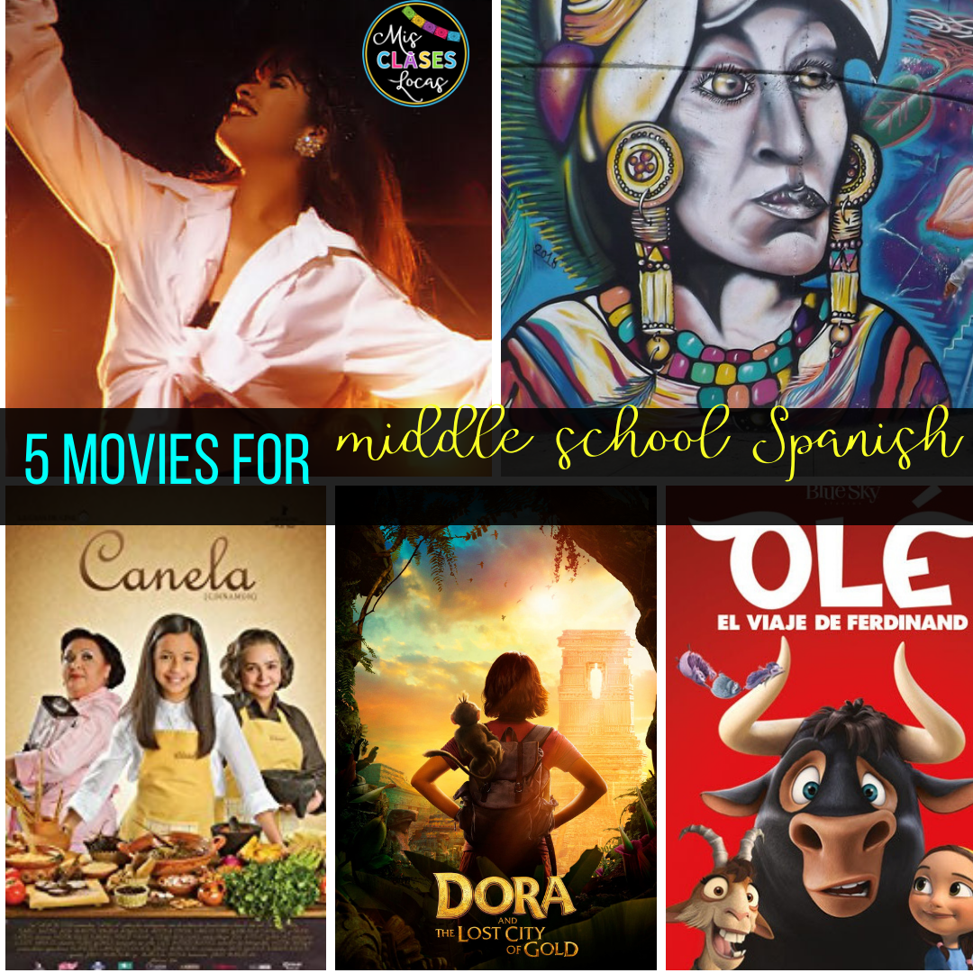 lista lunes: 5 Appropriate movies for middle and high school Spanish - shared by Mis Clases Locas
