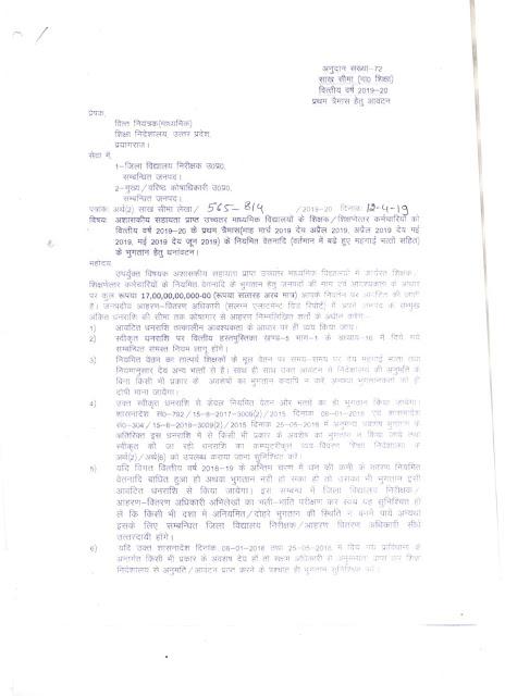 शिक्षकों के वेतन की तीन माह की ग्रान्ट जारी, क्लिक कर शासनादेश देखें ( teacher salary grant released)