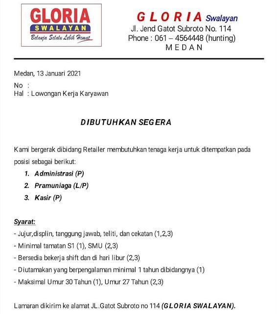 Lowongan Kerja Medan Januari 2021 Lulusan Sma Smk S1 Di Pt Swalayan Gloria