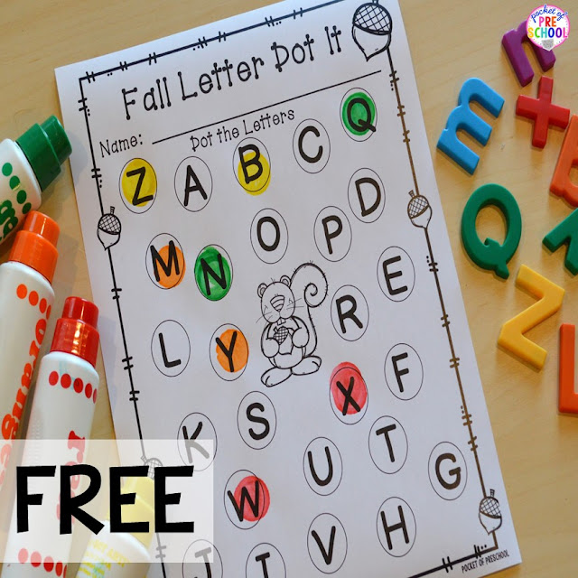 FREE fall letter dot it! Fall math, literacy, fine motor, art, sensory, and dramatic play activities for your preschool, pre-k, and kindergarten classroom.