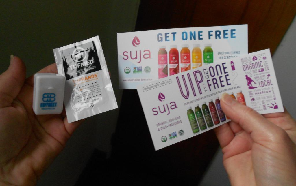 Dental floss, TufHands sample and the Suja coupons.jpeg
